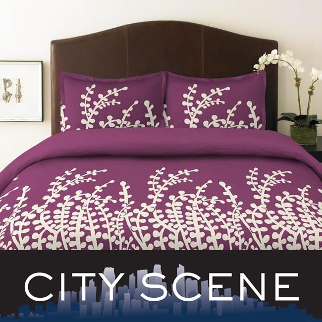 City Scene Branches Purple 2-piece Twin-size Duvet Cover Set