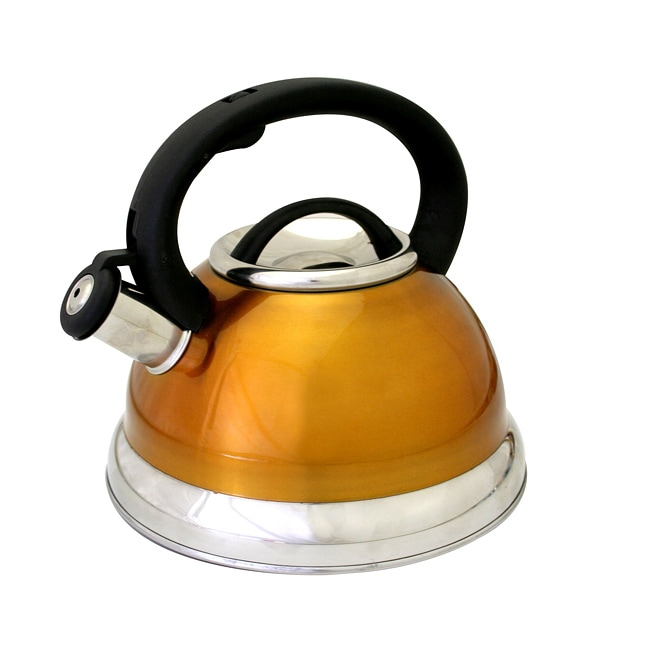 Alpine orange stainless steel whistling tea kettle for Alpine cuisine tea kettle