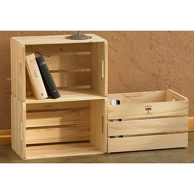 Unfinished Solid Pine Open Crates (Pack of 3)