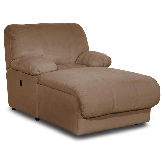 Brown microfiber pressback chaise 13054593 overstock for Brown microfiber chaise lounge