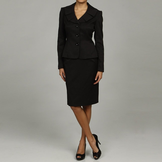 Tahari ASL Women's Black Jacquard Skirt Suit