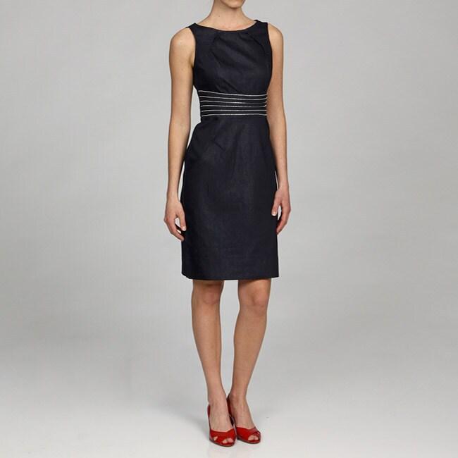 London Times Women's Zipper Waist Sheath Dress