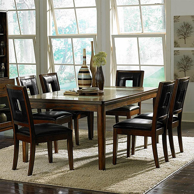 Dijon 7 piece cracked glass table set 13057248 for Cracked glass dining table