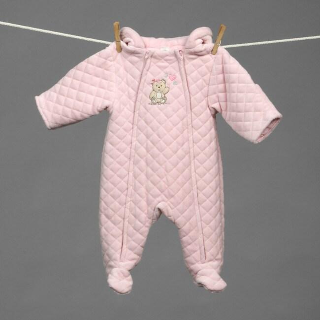 Little Me Newborn Girl's Quilted Velour Pram