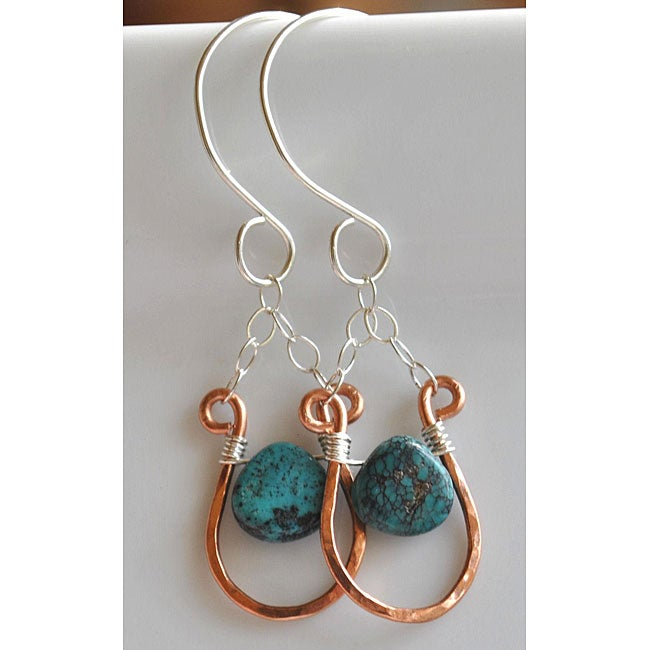 AEBDesign Copper and Sterling Silver Turquoise Earrings