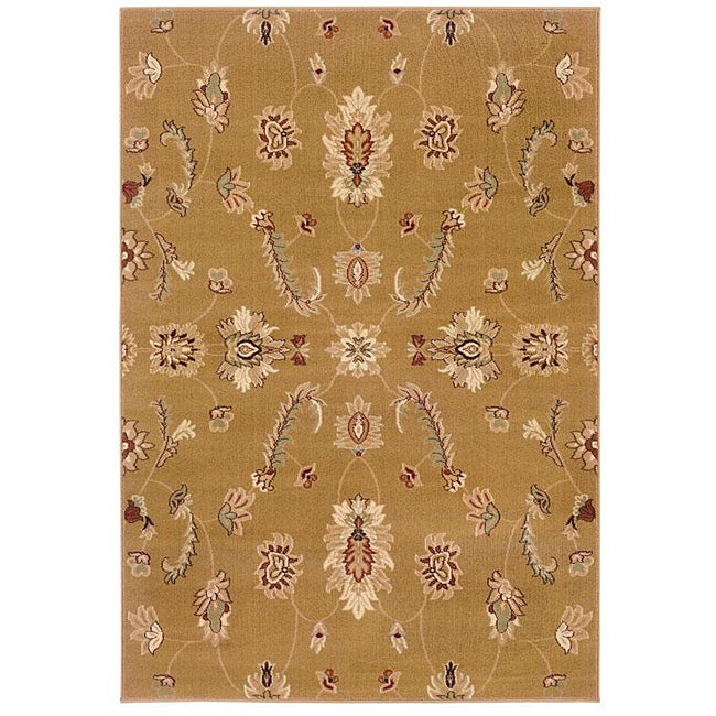 Indoor Gold Floral Rug (9' x 13')