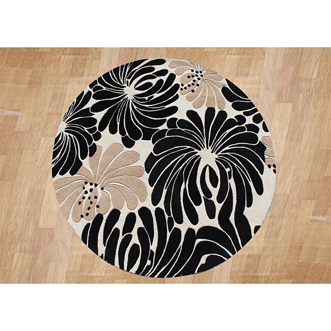 Alliyah Handmade Beige New Zealand Blend Wool Rug (6' Round)