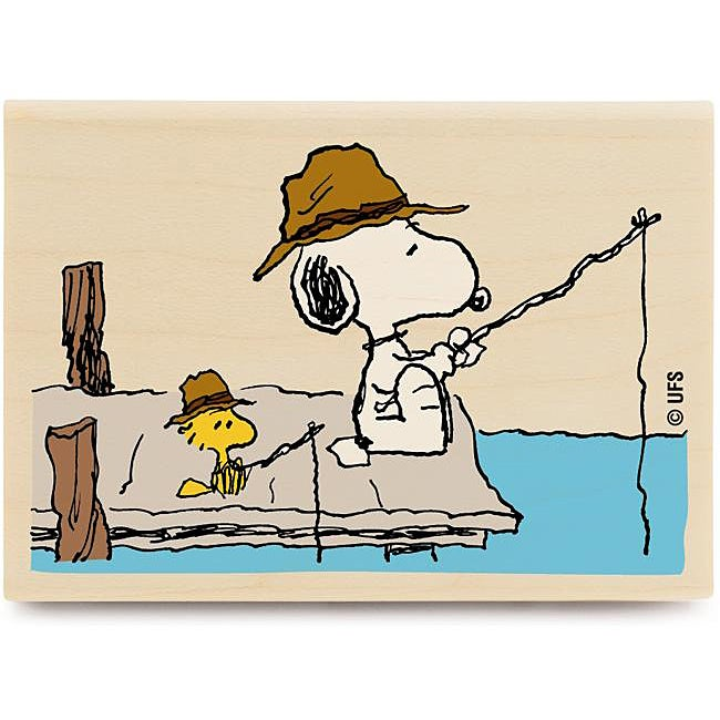 Peanuts Fishing Time Wood Mounted Rubber Stamp