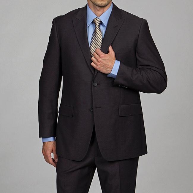 Perry Ellis Men's Slim Fit Charcoal Stripe Suit