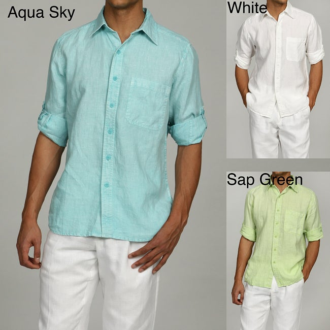Natural Blue Men's Enzyme Wash Linen Shirt
