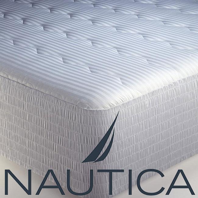 Nautica 300 Thread Count Cotton Sateen Stripe Mattress Pad