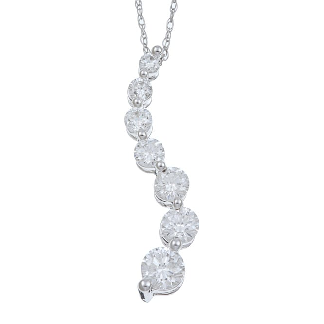 Eziba Collection 14k White Gold 1ct TDW Diamond Journey Necklace at mygofer.com