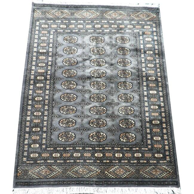 Pakistani Hand-knotted Blue/ Ivory Bokhara Wool Rug (4' X