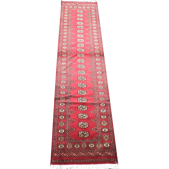 Pakistani Hand-knotted Red/Ivory Bokhara Wool Runner
