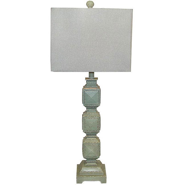 ramoncito blue distressed wood square table lamp 13070050 s. Black Bedroom Furniture Sets. Home Design Ideas