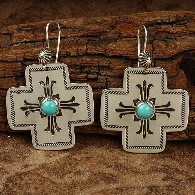 Silver Hand-stamped Turquoise Large Cross Earrings (Native American)