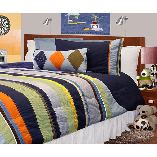 navy blue microfiber 4 piece twin size mini comforter set 13074967 shopping. Black Bedroom Furniture Sets. Home Design Ideas