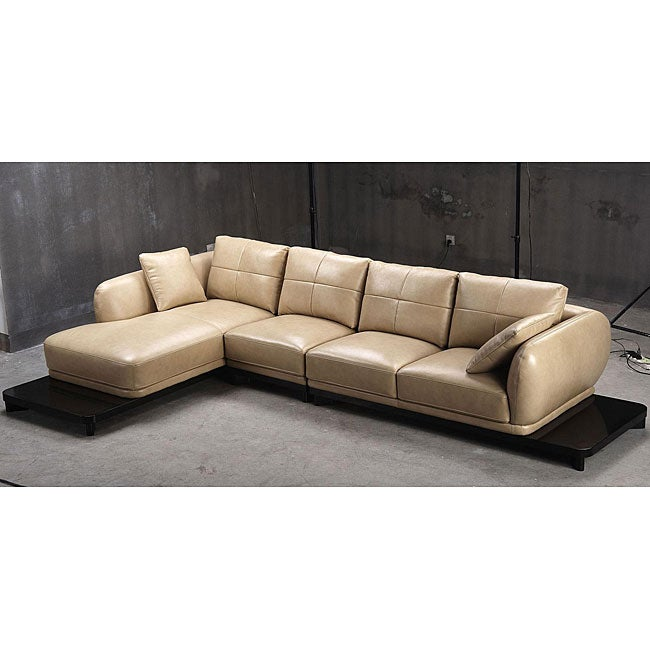 Tosh Furniture Caramel Leather Sectional Sofa With End