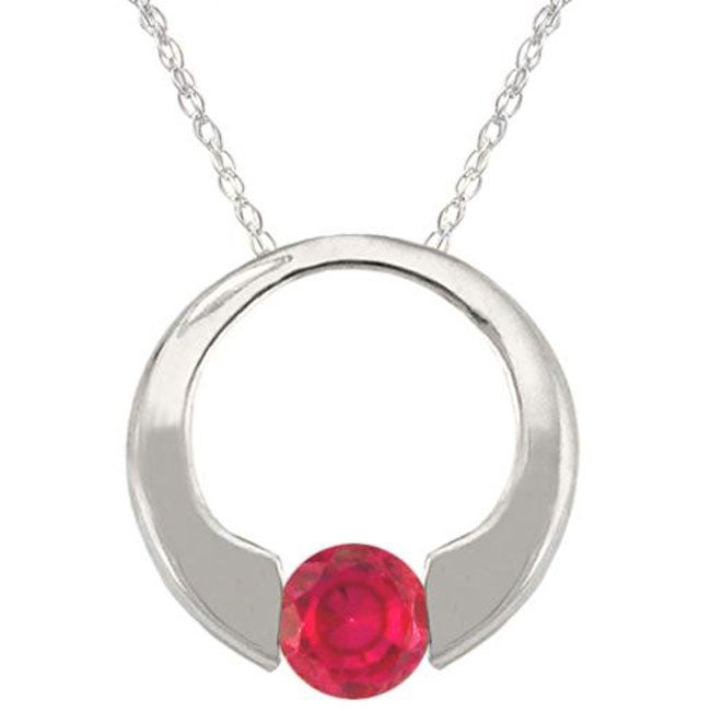 10k Gold July Birthstone Created Ruby Circle Necklace