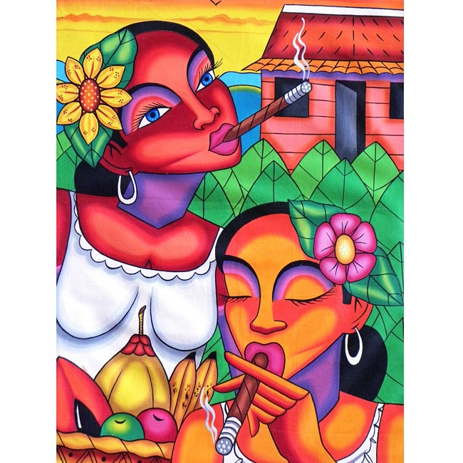 'Women With Cigars' Canvas Painting (Cuba)