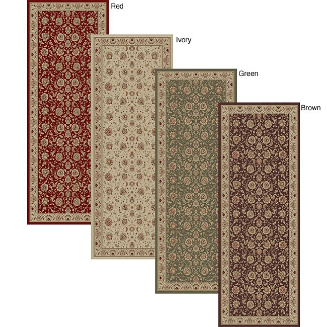 Empress Traditional Red/ Brown/ Green/ Ivory Rug (2'7 x 7'3)