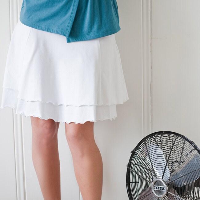 Women's White Organic Cotton Double-layer Skirt (Peru)
