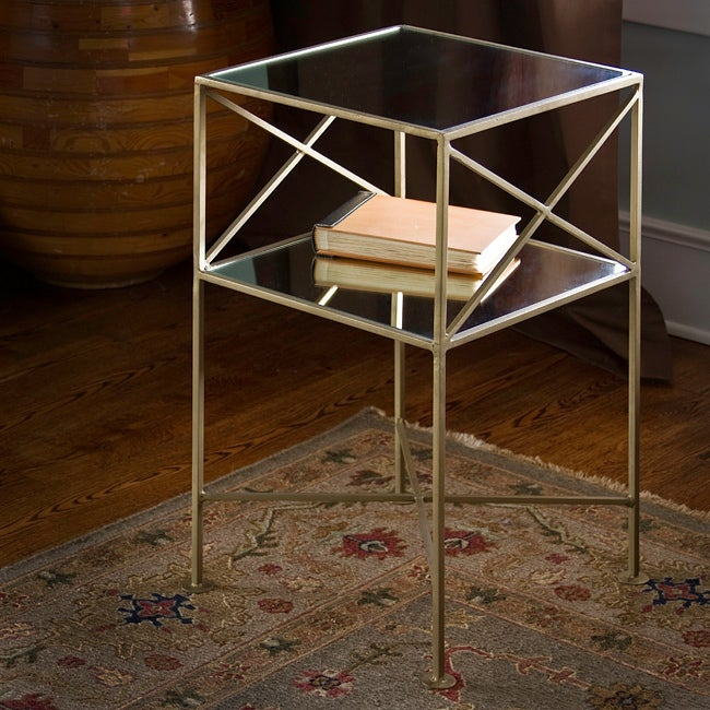 Brass-plated Iron And Glass Square Side Table (India
