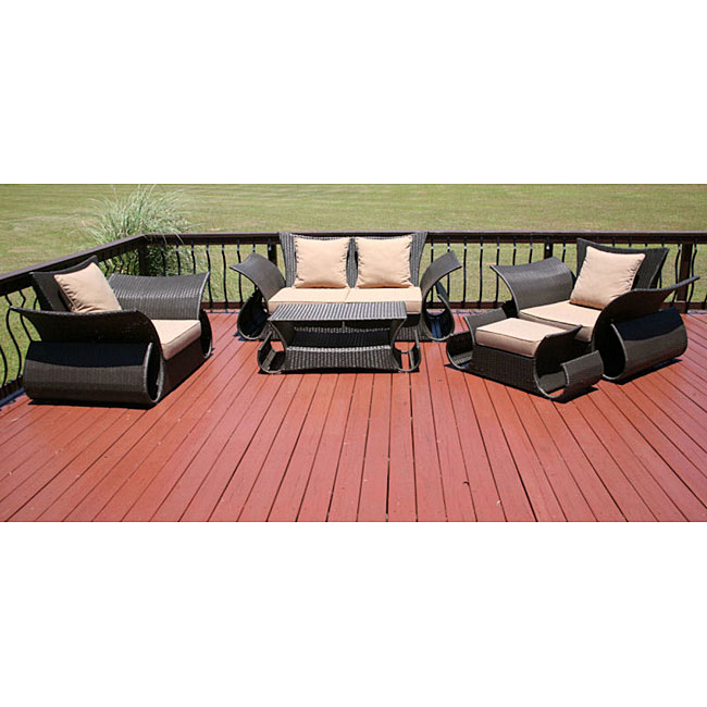 Barbados 5 piece all weather resin wicker patio furniture for Agio international barbados chaise lounge