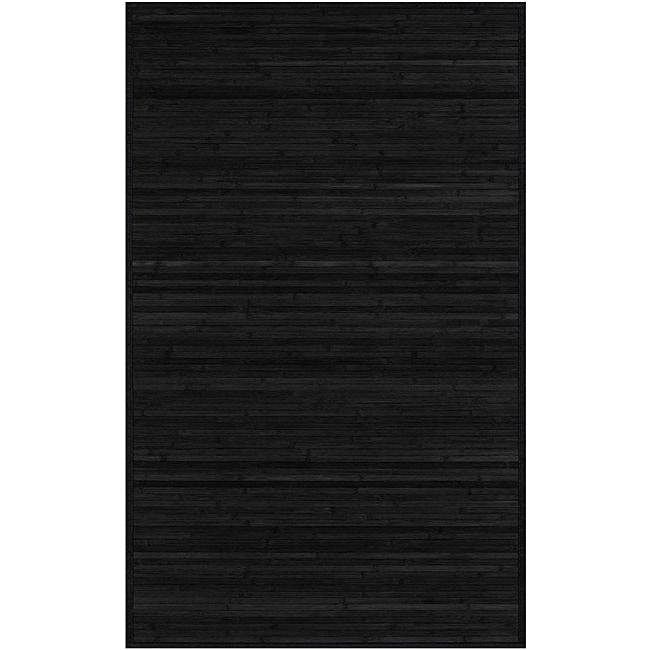 Hand-woven Black Natural Fiber Bamboo Rug (5' x 8')