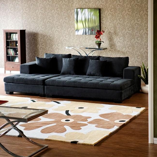 Xander Charcoal Grey Microfiber Sectional With Chaise