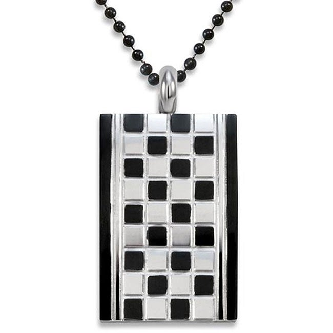 West Coast Jewelry Stainless Steel Checker Board Dog Tag Necklace