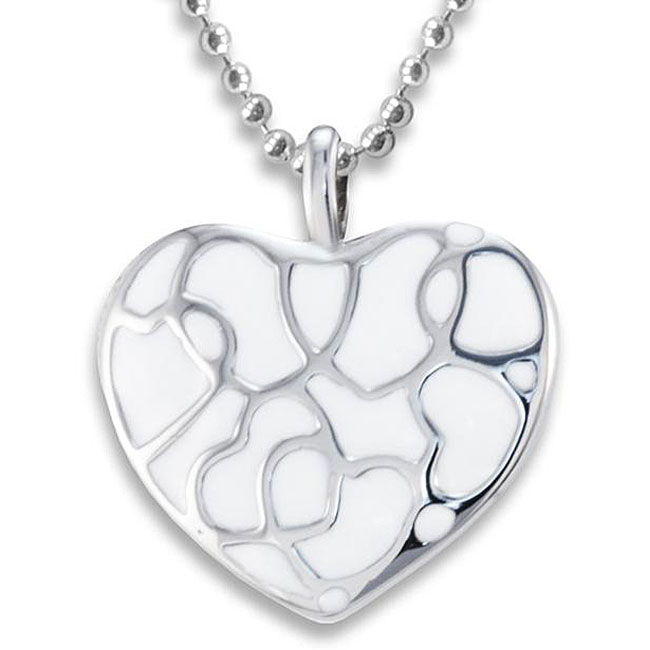 West Coast Jewelry Stainless Steel Polished White Heart Necklace