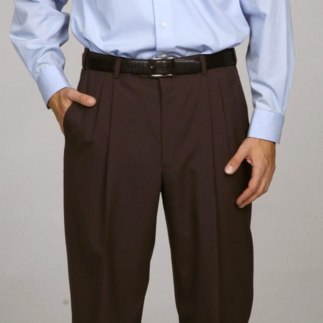 Austin Reed Men's Brown Pleated Brown Dress Pants