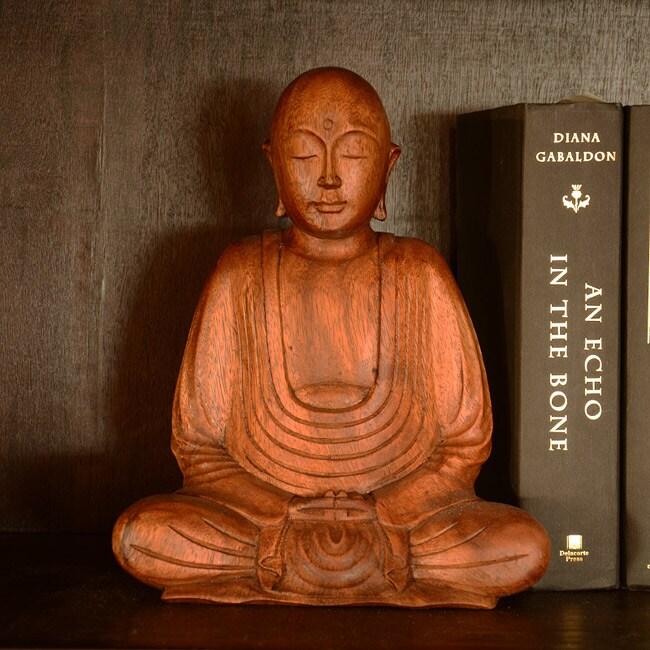 Suar Wood Hairless Buddha Statue, Handmade in Indonesia