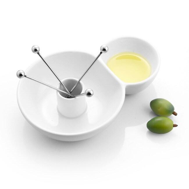 White Porcelain 4-pick Olive Dish