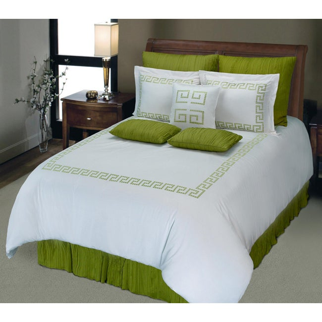 White Green Greek Key Full Queen Size Duvet Cover Set