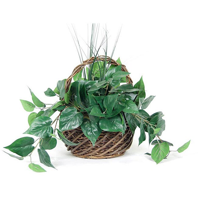 Philodendron and Onion Grass Silk Plant (Pack of 2)