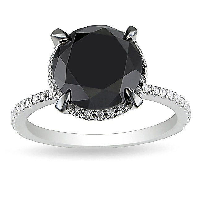 Miadora 10k White Gold 4 3/4ct TDW Black Halo Diamond Ring (G-H, I2-I3)