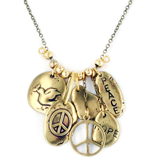West Coast Jewelry Goldtone 'Peace and Hope' Multiple Charms Necklace