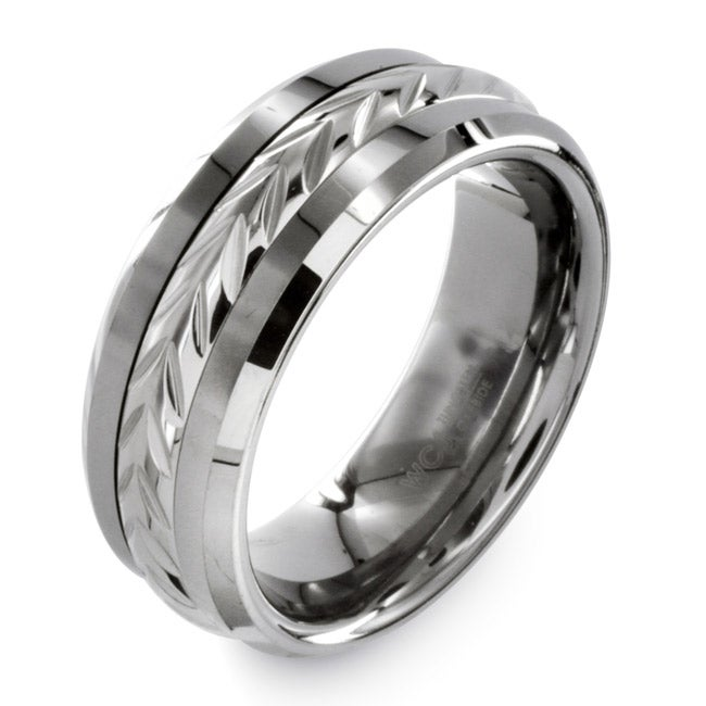 Eziba Collection Men's Tungsten Carbide Laurel Inlay Ring at Sears.com