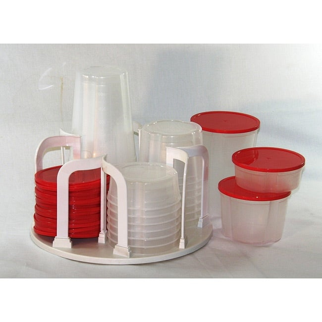Plastic 49-piece Kitchen Containers with Carousel Rack
