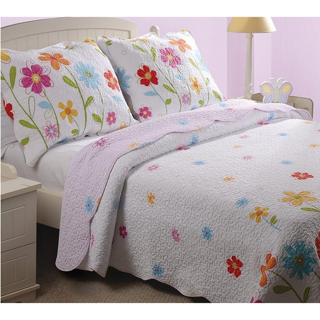 Greenland Home Fashions Growing Flowers 3-piece Quilt Set