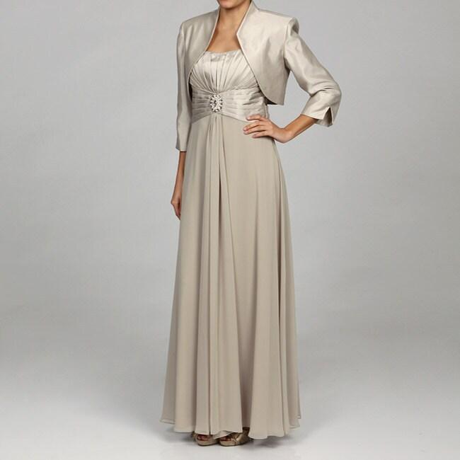 Jessica Howard Women's Tucked Bodice Dress with Bolero Jacket