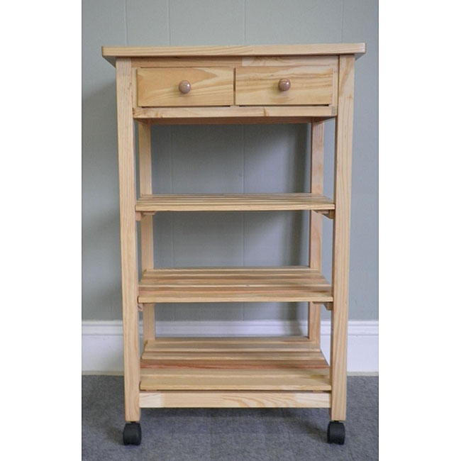 Birch Wood Rolling Kitchen Utility Cart
