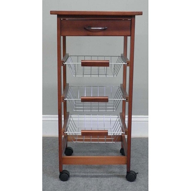 Birch Wood Decorative Tile Top Rolling Kitchen Cart