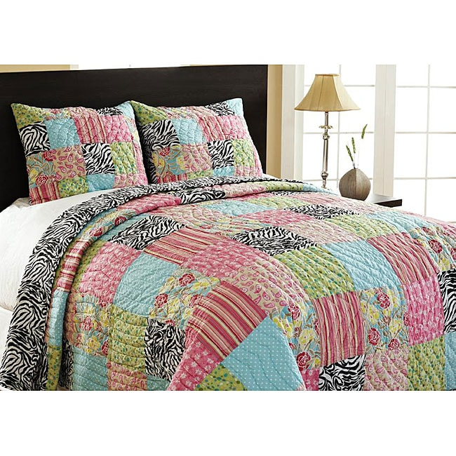 Zebra Patchwork Twin-size Reversible 2-piece Quilt Set