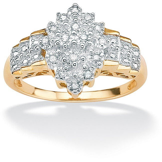 Isabella Collection 18k Gold over Silver 1/10ct TDW Diamond Cut-out Ring (G-H, I2-I3)
