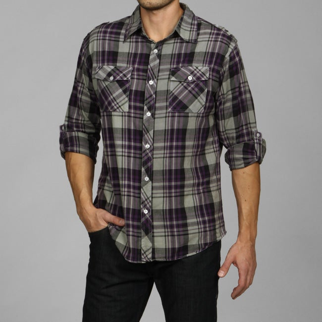 Black Jack Men's Plaid Military Shirt