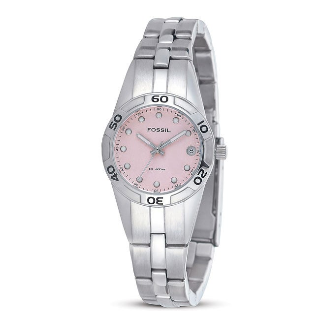 Fossil Women's Pink Dial Stainless Steel Watch