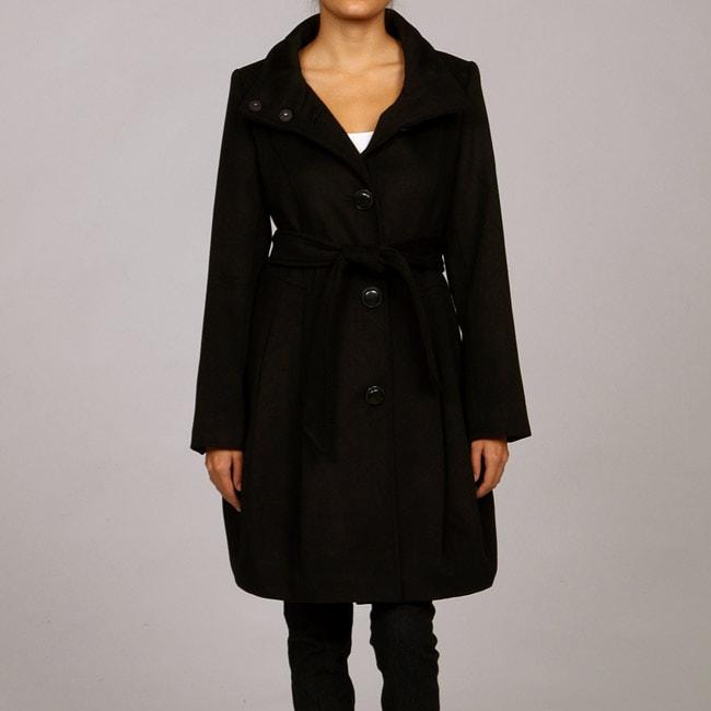 Hawke & Co. Women's Wool Tie Waist Bubble Bottom Coat